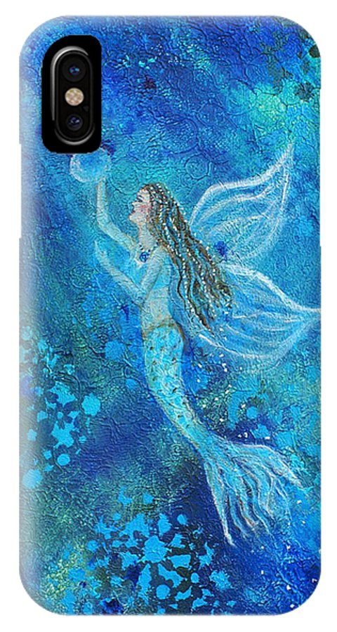Mermaid Angel IPhone X Case featuring the painting Pearl Out Of The Depths by The Art With A Heart By Charlotte Phillips
