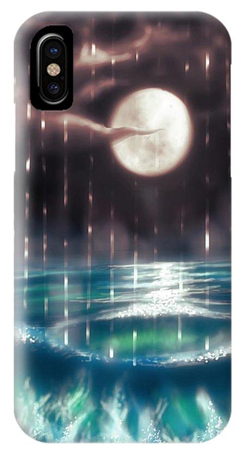 Ocean IPhone X Case featuring the painting Pearl Rain @ Precious Pearl Ocean by Mayur Sharma