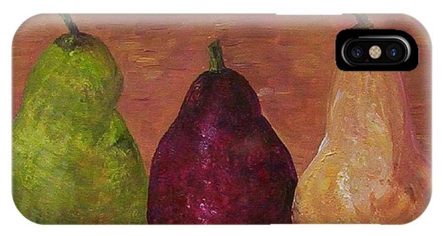Pear IPhone X Case featuring the painting Pears On Parade  by Eloise Schneider Mote