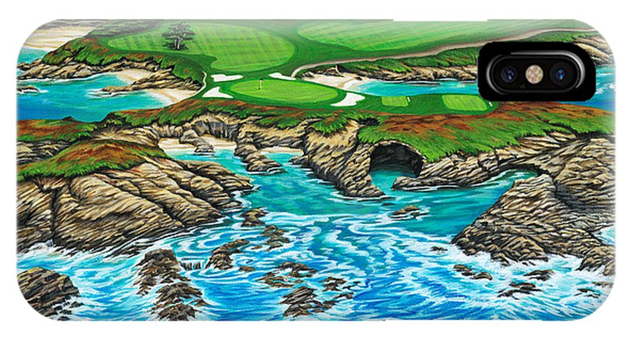 Ocean IPhone Case featuring the painting Pebble Beach 15th Hole-north by Jane Girardot