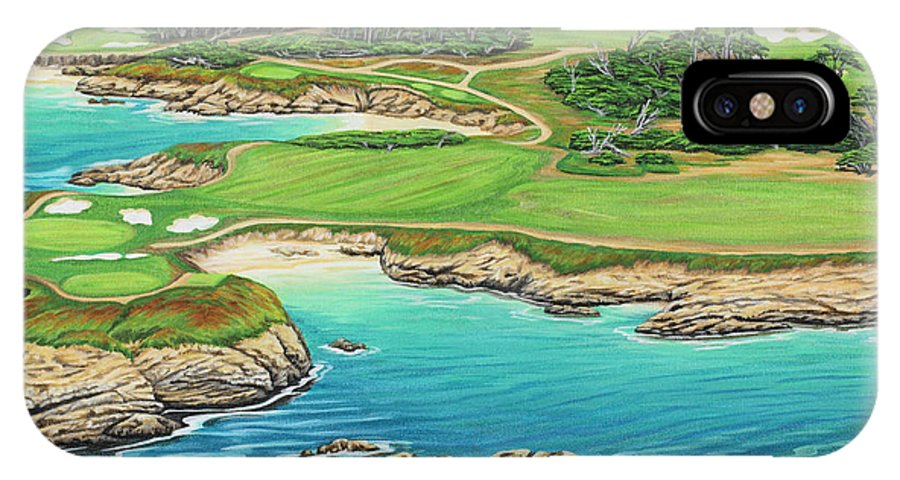 Ocean IPhone Case featuring the painting Pebble Beach 15th Hole-south by Jane Girardot