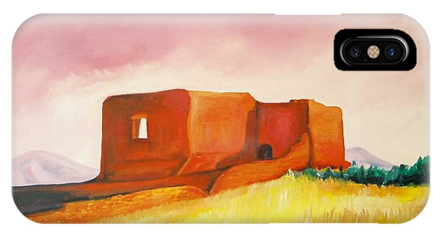 Western Landscapes IPhone X Case featuring the painting Pecos Mission Nm by Eric Schiabor