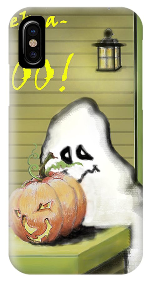 Halloween IPhone X Case featuring the painting Peek-a-boo by Carol Jacobs