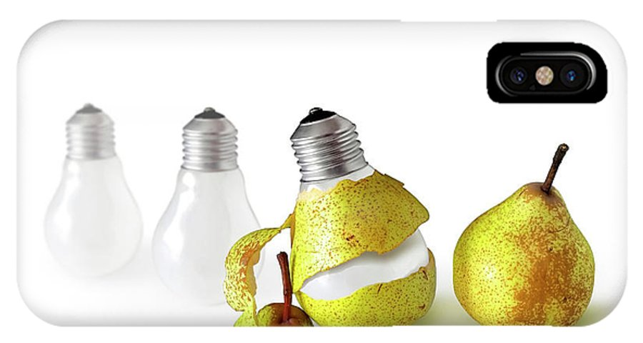 Pear IPhone X Case featuring the photograph Peeled Bulb by Carlos Caetano