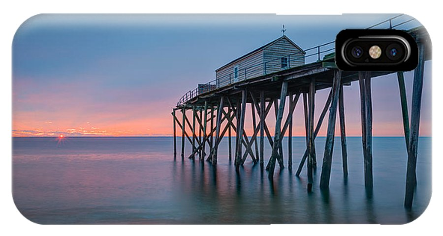 Fishing Pier Sunrise IPhone X Case featuring the photograph Peering Through The Clouds by Michael Ver Sprill