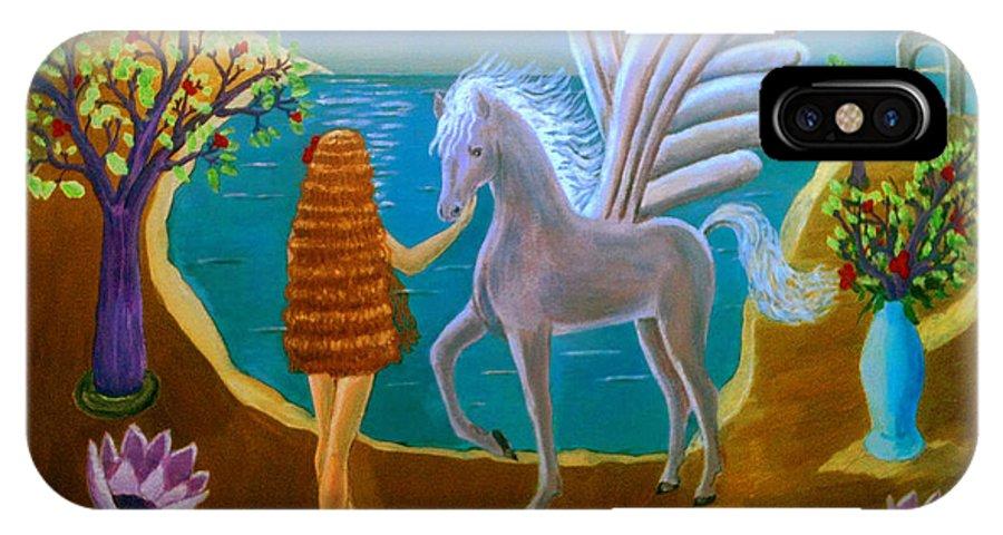 Pegasus By Alicia Sotomayor IPhone X Case featuring the painting Pegasus by Alicia Sotomayor