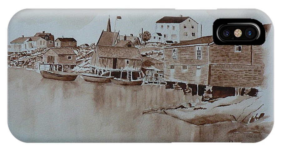 Peggy's Cove Harbour IPhone X Case featuring the painting Peggy's Cove 3 by Dianne Bunn