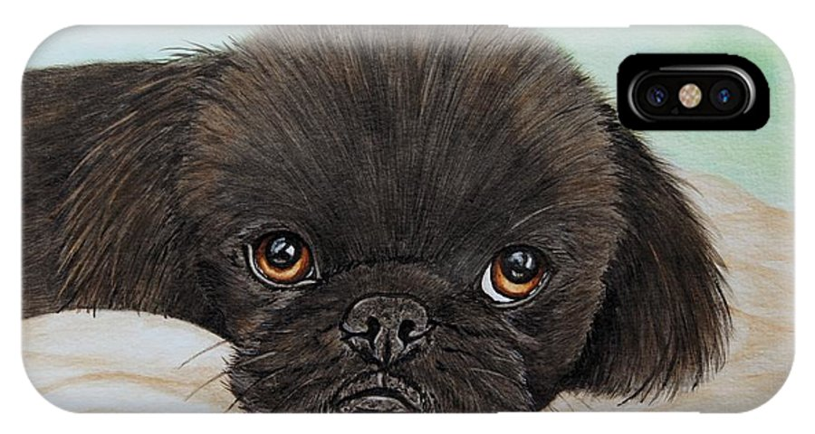 Pekingese IPhone X Case featuring the painting Buddy The Pekingese by Megan Cohen