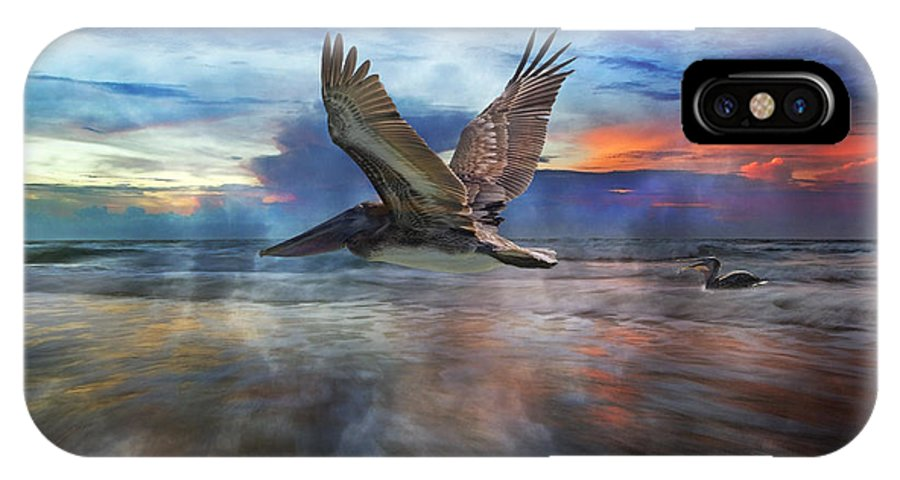 Pelican IPhone X Case featuring the photograph Pelican Sunrise by Betsy Knapp