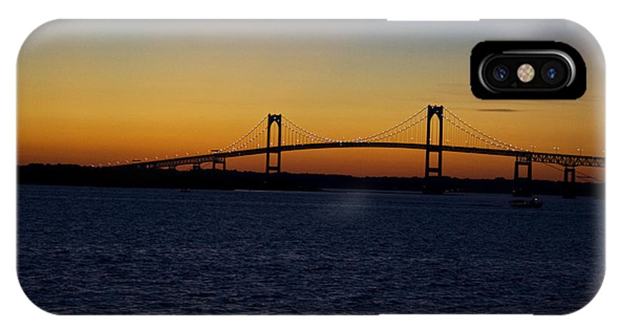 Sunset IPhone X Case featuring the photograph Pell Bridge by Conor McLaughlin