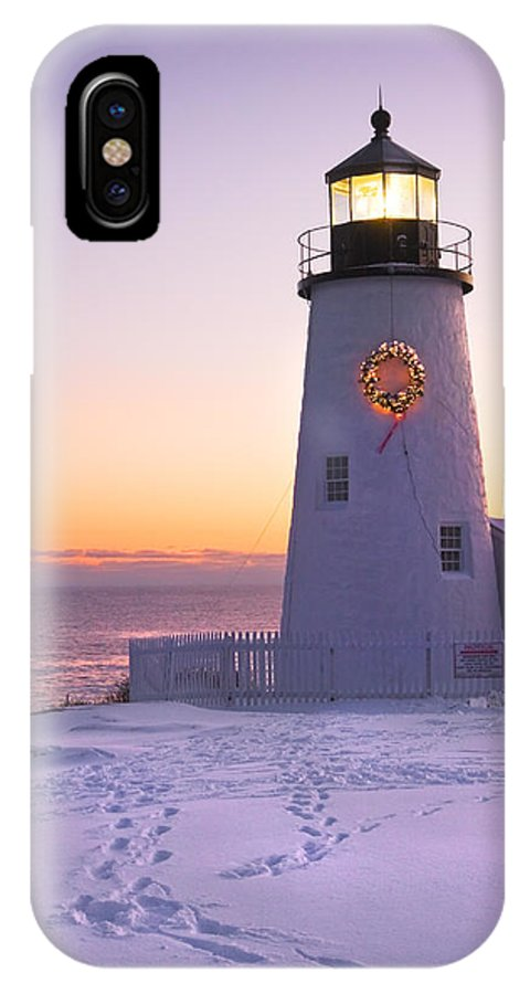 Lighthouse IPhone X Case featuring the photograph Pemaquid Point Lighthouse Christmas Snow Wreath Maine by Keith Webber Jr