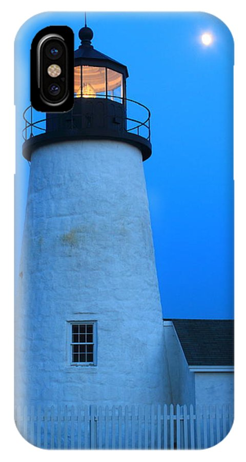 Moon IPhone X Case featuring the photograph Pemaquid Point Lighthouse Moon by John Burk