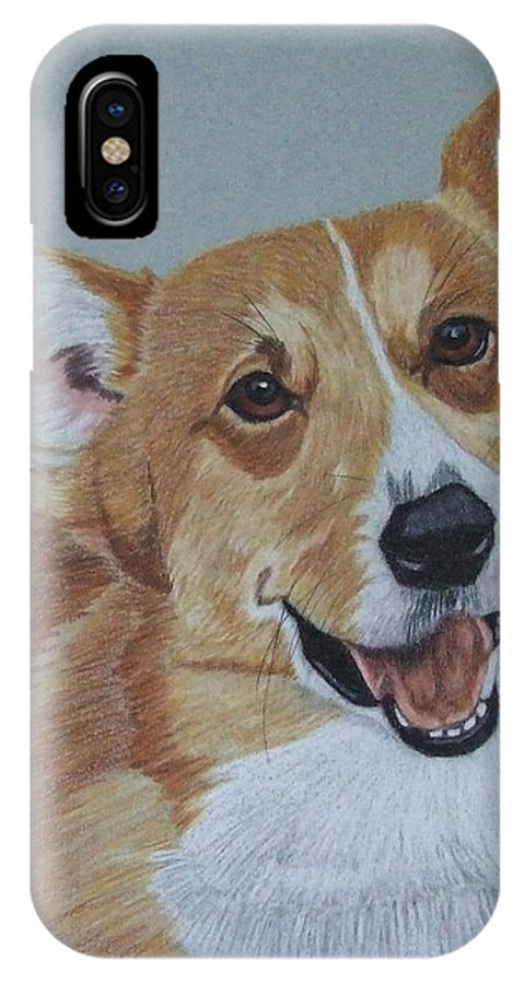 Corgi IPhone X Case featuring the drawing Pembroke Welsh Corgi by Anita Putman