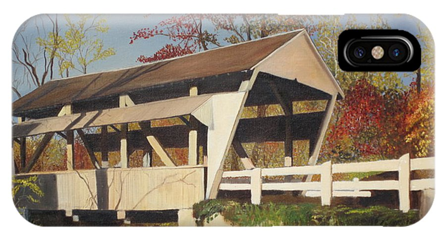 covered Bridge IPhone X Case featuring the painting Pennsylvania Covered Bridge by Barbara McDevitt