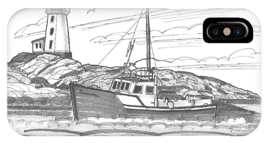 Lighthouse IPhone X Case featuring the drawing Peggy's Cove Lighthouse Nova Scotia by Richard Wambach