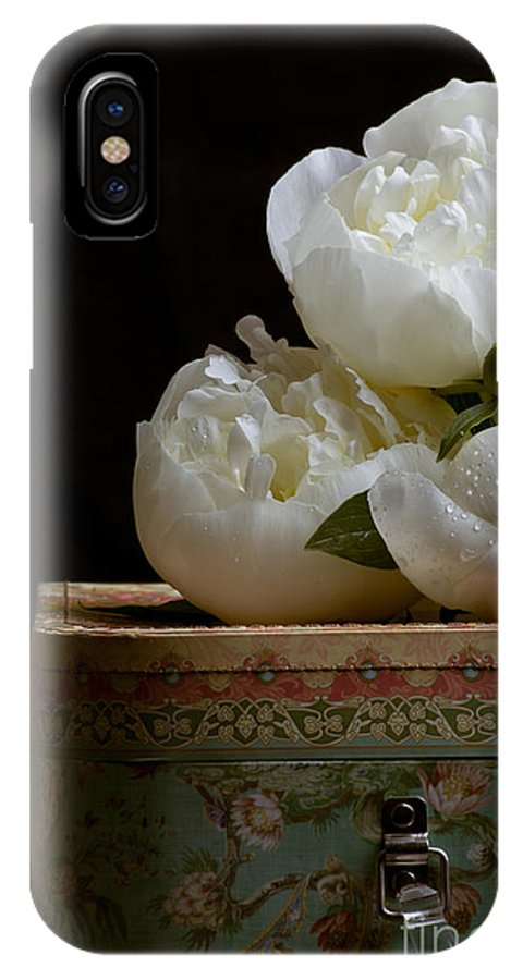 Hat IPhone X Case featuring the photograph Peony Flowers On Old Hat Box by Edward Fielding