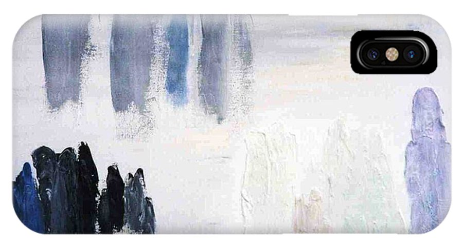 White Landscape IPhone X Case featuring the painting People Come And They Go by Bruce Combs - REACH BEYOND