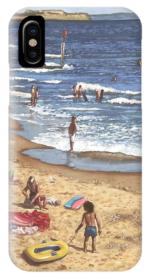 Bournemouth IPhone X Case featuring the painting people on Bournemouth beach Blue Sea by Martin Davey