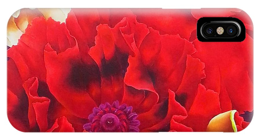 Poppy IPhone X Case featuring the painting Pepperpot by Elizabeth Elequin
