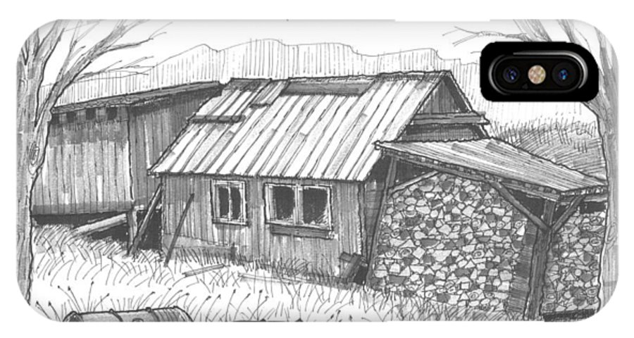 Maple Syrup IPhone X Case featuring the drawing Perkins Maple Sugar House by Richard Wambach