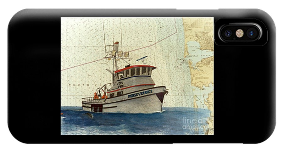 Perseverance IPhone X Case featuring the painting Perseverance Crab Fishing Boat Nautical Chart Art by Cathy Peek