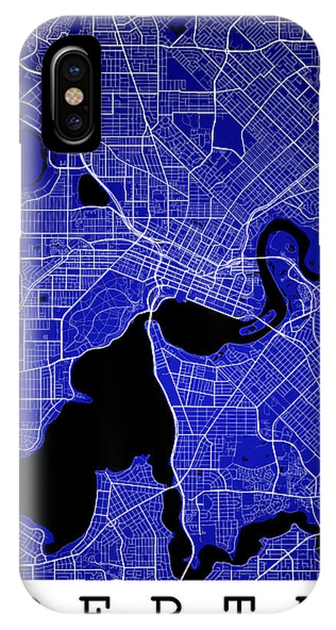 Road Map IPhone X Case featuring the digital art Perth Street Map - Perth Australia Road Map Art On Colored Backg by Jurq Studio