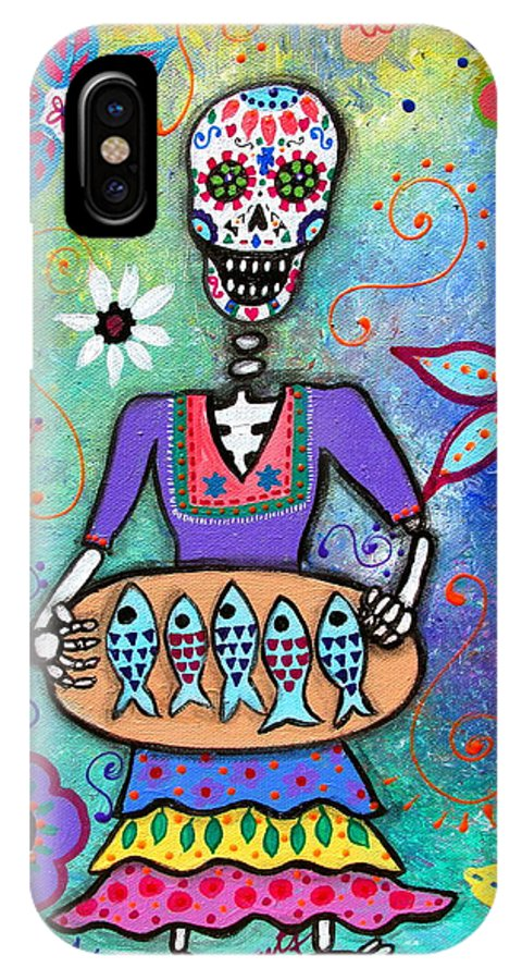 Day Of The Dead IPhone X Case featuring the painting Pescadora Dia De Los Muertos by Pristine Cartera Turkus