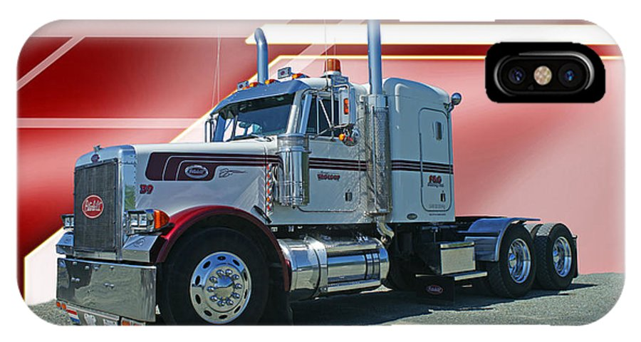 Trucks IPhone X Case featuring the photograph Peterbilt With Burgundy Abstract by Randy Harris