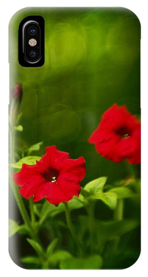 Flowers IPhone X / XS Case featuring the photograph Petunia Dreams In The Woods by Dorothy Lee