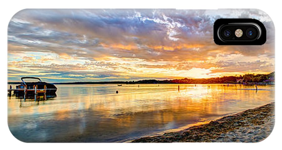 Beach IPhone X Case featuring the photograph Pewaukee Vibrant Evening by Andrew Slater