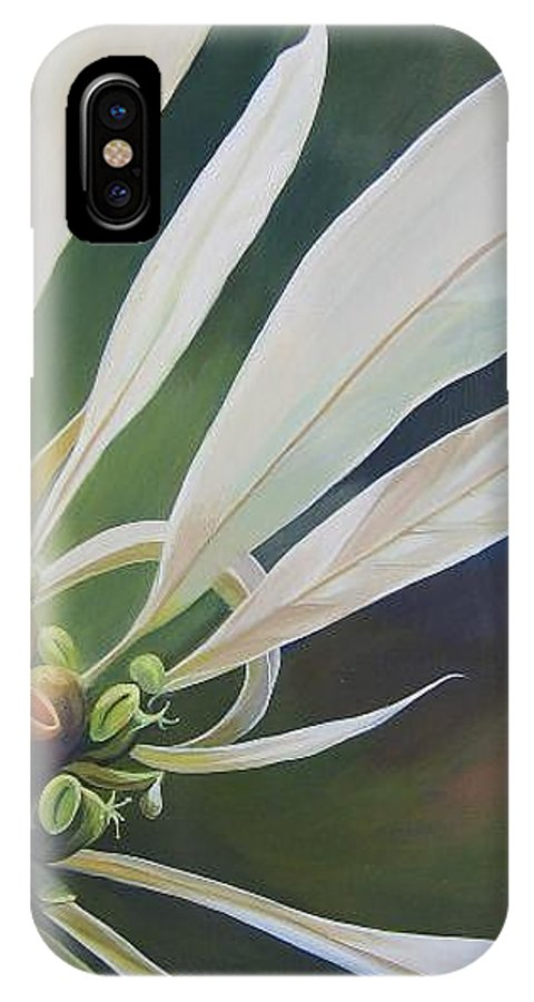 White Poinsettia IPhone X / XS Case featuring the painting Phenomenal World by Hunter Jay