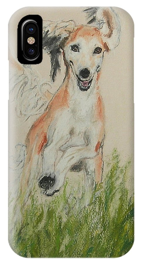 Saluki IPhone X Case featuring the drawing Pheret by Cori Solomon