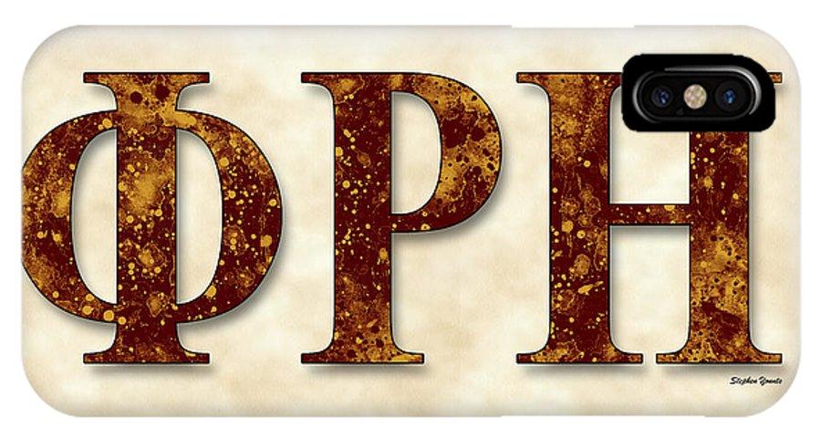 Phi Rho Eta IPhone X Case featuring the digital art Phi Rho Eta - Parchment by Stephen Younts