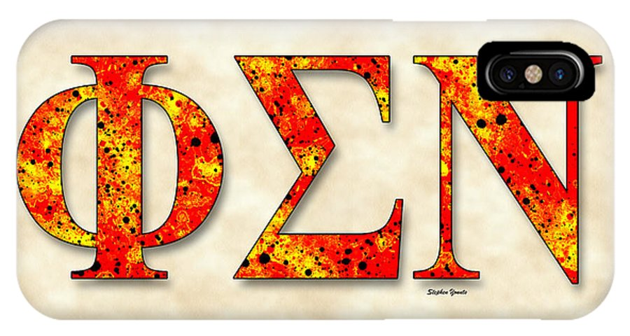 Phi Sigma Nu IPhone X Case featuring the digital art Phi Sigma Nu - Parchment by Stephen Younts