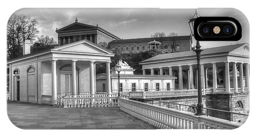 Philadelphia IPhone X Case featuring the photograph Philadelphia Art Museum And Waterworks 11 Bw by Constantin Raducan