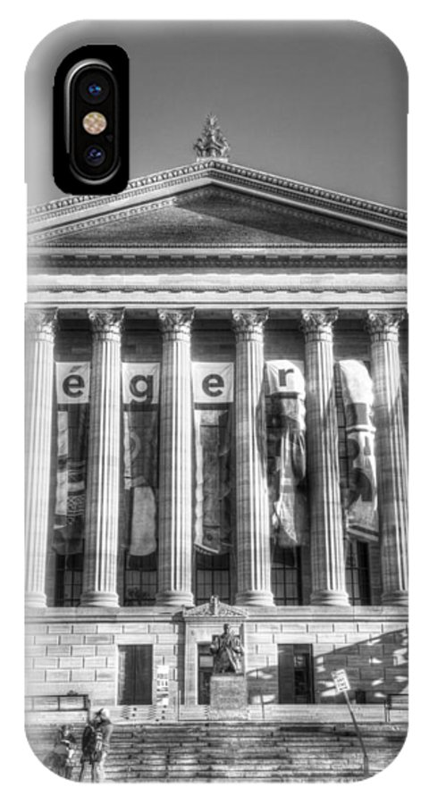 Philadelphia IPhone X Case featuring the photograph Philadelphia Art Museum Back 1 Bw by Constantin Raducan