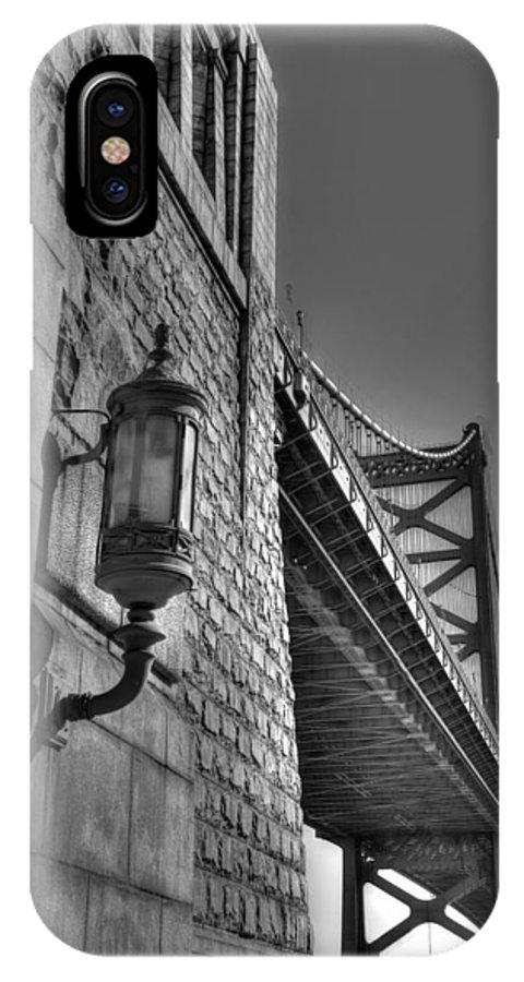 Philadelphia IPhone X Case featuring the photograph Philadelphia Benjamin Franklin Bridge 2 Bw by Constantin Raducan