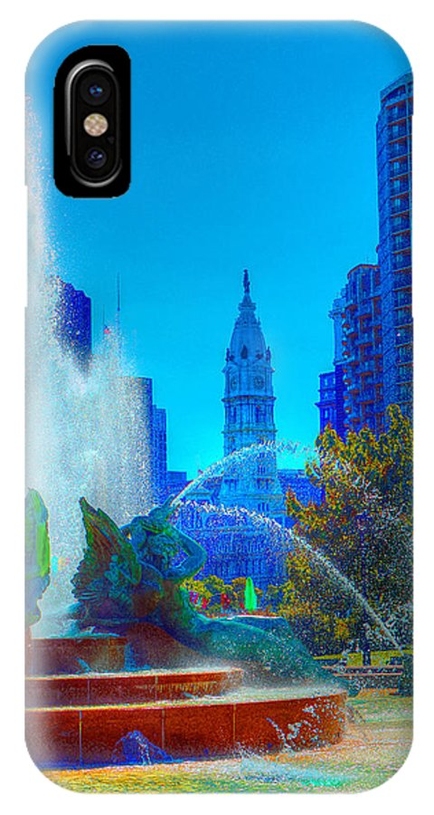 Philadelphia IPhone X Case featuring the photograph Philadelphia City Hall And Swan Fountain 2 by Constantin Raducan