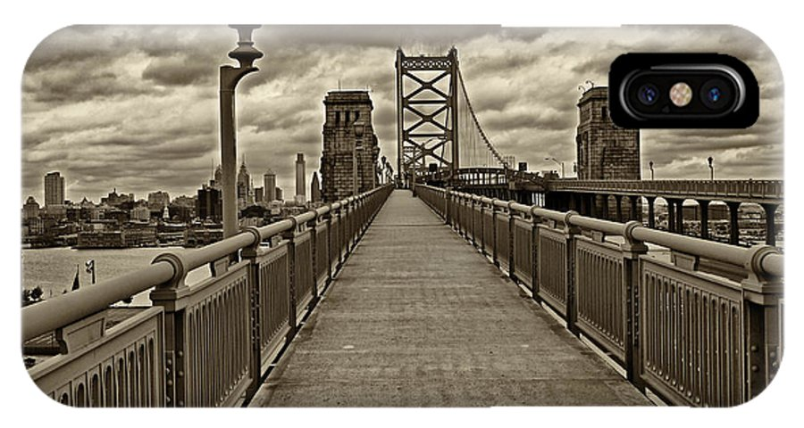 Philadelphia IPhone X Case featuring the photograph Philadelphia from Ben Franklin Bridge 1 by Jack Paolini