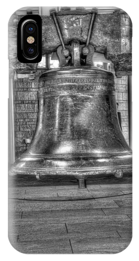Philadelphia IPhone X Case featuring the photograph Philadelphia Liberty Bell Bw by Constantin Raducan