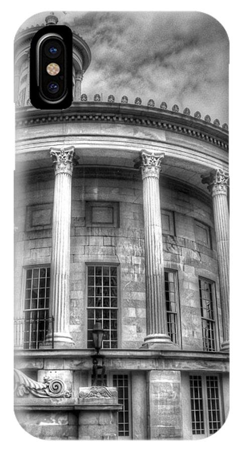 Philadelphia IPhone X Case featuring the photograph Philadelphia Merchants Exchange Bw by Constantin Raducan