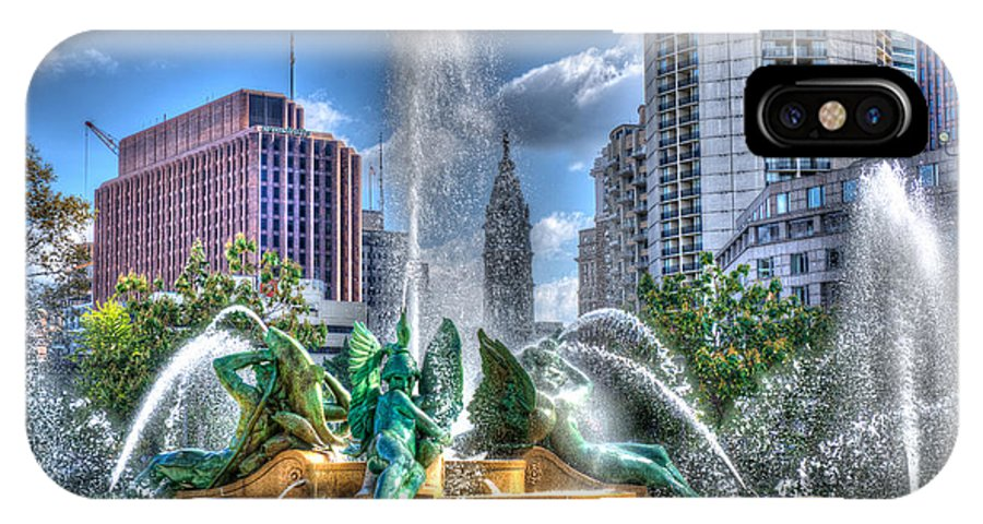 Philadelphia IPhone X Case featuring the photograph Philadelphia Swan Fountain 1 by Constantin Raducan
