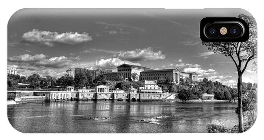 Philadelphia IPhone X Case featuring the photograph Philadelphia Water Works And Art Museum 2 Bw by Constantin Raducan