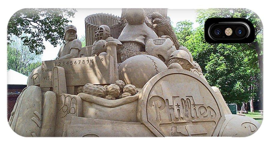 Phillies IPhone X Case featuring the photograph Phillies Sandsculpture by Barbara McDevitt