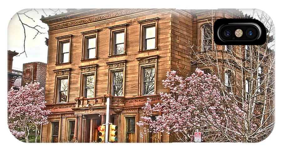 Fairmount Park Old Apartment Building Cherry Trees IPhone X Case featuring the photograph Philly Fairmount View Two by Alice Gipson