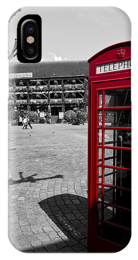 Red IPhone X Case featuring the photograph Phone Box London by David Pyatt