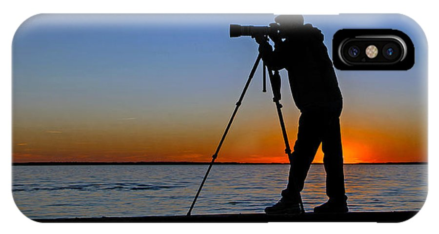 Photographer IPhone X Case featuring the photograph Photographer At Sunset by Jerry Gammon