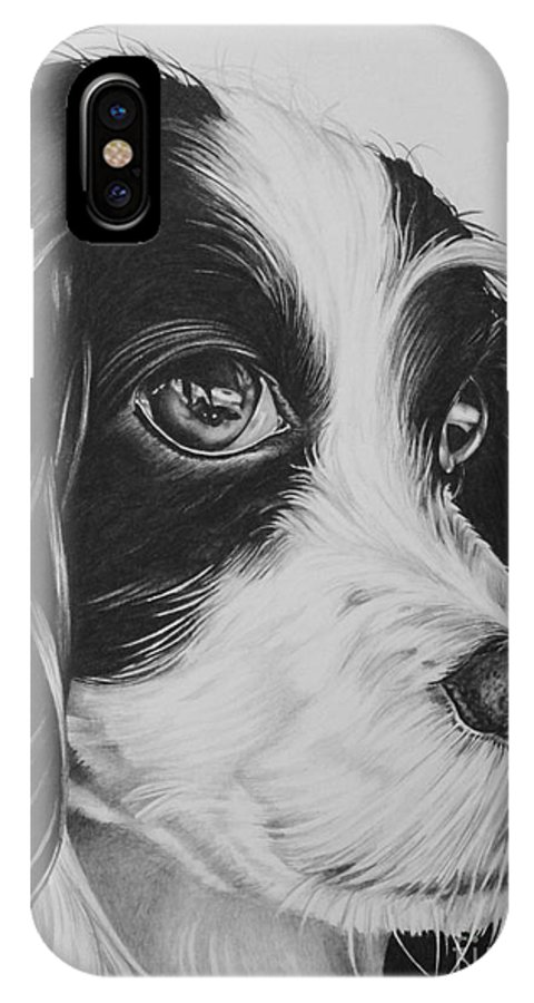 Dog IPhone X Case featuring the drawing Phthalo by Jennifer Slack