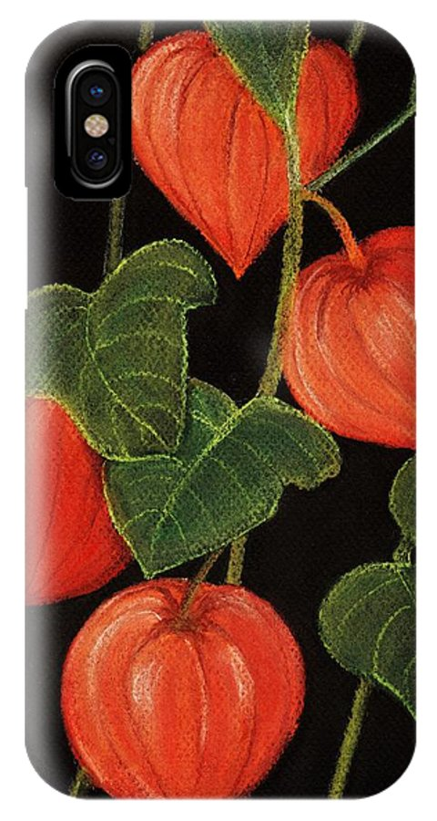Plant IPhone X Case featuring the painting Physalis by Anastasiya Malakhova