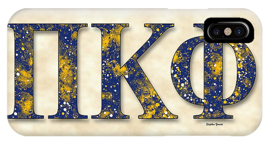 Pi Kappa Phi IPhone X Case featuring the digital art Pi Kappa Phi - Parchment by Stephen Younts